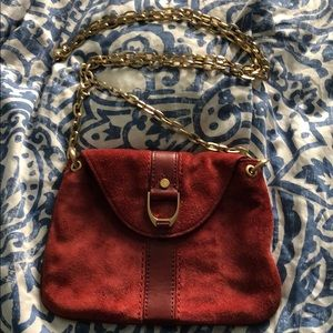 Small red suede Cole haan purse